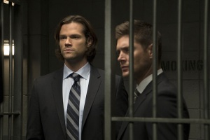 "Supernatural -- ""Our Little World"" -- Image SN1106a_0334.jpg -- Pictured (L-R): Jared Padalecki as Sam and Jensen Ackles as Dean -- Photo: Katie Yu/The CW -- © 2015 The CW Network, LLC. All Rights Reserved."