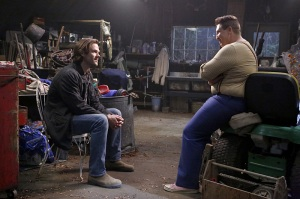 "Supernatural -- ""Just My Imagination"" -- Image SN1108A_0322.jpg -- Pictured (L-R): Jared Padalecki as Sam and Nate Torrence as Sully -- Photo: Bettina Strauss/The CW -- © 2015 The CW Network, LLC. All Rights Reserved."