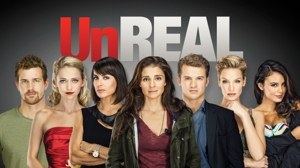 UN-REAL – Season 1 – Pictured (L-R): Josh Kelly as Jeremy, Johanna Braddy as Anna, Constance Zimmer as Quinn, Shiri Appleby as Rachel, Freddie Stroma as Adam, Ashley Scott as Mary and Nathalie Kelley as Grace – Photo Credit: © 2015 Joseph Viles/Lifetime. The series premieres Monday, June 1 at 10pm ET/PT.