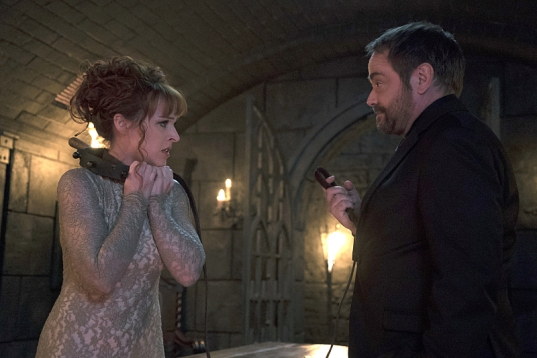 """Supernatural -- """"The Devil in The Details"""" -- Image SN1110A_0047 -- Pictured (L-R): Ruth Connell as Rowena and Mark Sheppard as Crowley -- Photo: Katie Yu/The CW -- © 2016 The CW Network, LLC. All Rights Reserved."""