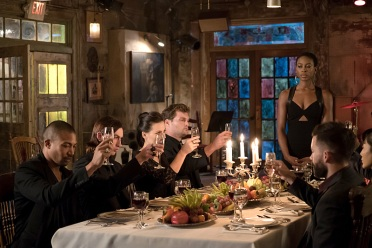 "The Originals -- ""Wild At Heart"" -- Image Number: OG311b_0071.jpg -- Pictured (far left): Charles Michael Davis as Marcel and Tracy Ifeachor as Aya (standing) -- Photo: Annette Brown/The CW -- © 2016 The CW Network, LLC. All rights reserved."