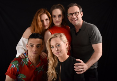 Grace Gummer, Carly Chaikin, Christian Slater, Rami Malek and Portia Doubleday from the cast of 'Mr. Robot'